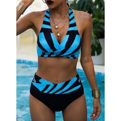 Stripe High Waist Print Halter V-Neck Sexy Vintage Plus Size Bikinis Swimsuits