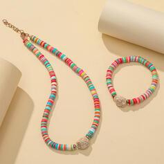 Exotisk Färgglada Bohemisk Legering Mjuk lera med Strass Smycken Sets Halsband Armband (Set av 2)