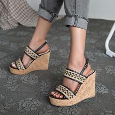Women's PU Wedge Heel Pumps Platform Wedges Peep Toe Heels With Buckle Hollow-out Splice Color shoes