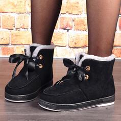 Kvinnor Mocka Flat Heel Snökängor rund tå med Bandage Solid färg skor