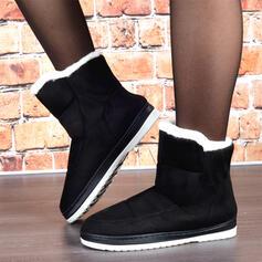 Kvinnor Mocka Flat Heel Snökängor rund tå med Fejkpäls Solid färg skor
