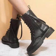 Kvinnor PU Låg Klack Boots Martin Stövlar rund tå med Zipper Bandage Solid färg skor