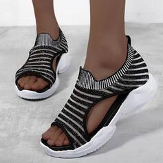 Women's Mesh Wedge Heel Sandals Platform Wedges Peep Toe With Splice Color Striped shoes