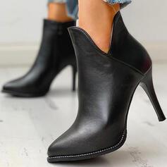 Kvinnor PU Stilettklack Boots Spetsad tå med Solid färg skor