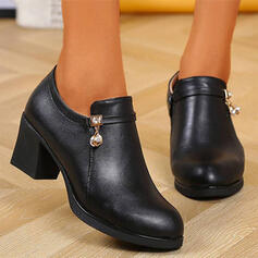 Women's PU Chunky Heel Ankle Boots Low Top Round Toe With Rhinestone Zipper Solid Color shoes