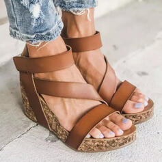 Women's PU Wedge Heel Sandals Platform Wedges Peep Toe Heels With Hollow-out Bandage shoes