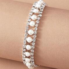 Shining Alloy Rhinestones With Rhinestones Imitation Pearls Women's Ladies' Bracelets