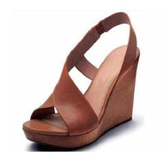 PU Wedge Heel Sandals Wedges Peep Toe Heels With Buckle shoes
