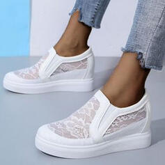 Women's Cloth Mesh Flat Heel Flats Round Toe Espadrille Slip On With Hollow-out Solid Color shoes