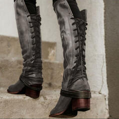 Women's PU Chunky Heel Knee High Boots Pointed Toe With Lace-up Solid Color shoes