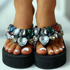 Women's Fabric Flat Heel Sandals Peep Toe Slippers With Rhinestone shoes