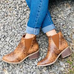 Kvinnor Konstläder Tjockt Häl rund tå med Animaliska Tryck skor