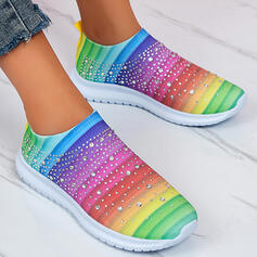 Women's Cloth Mesh Flat Heel Flats Low Top Slip On With Others Stripe shoes
