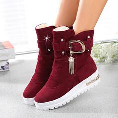 Kvinnor Konstläder Flat Heel Boots Låg topp med Beading skor