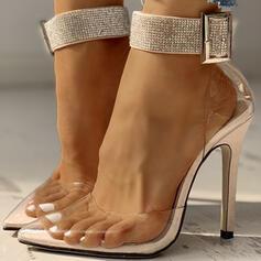 Kvinnor PVC Stilettklack Pumps med Strass Spänne skor