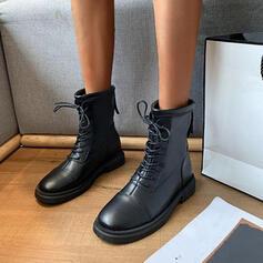 Kvinnor PU Flat Heel Halva Vaden Stövlar Martin Stövlar rund tå med Bandage Solid färg skor