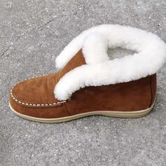 Kvinnor Mocka Flat Heel Stövlar Boots rund tå med Fjäder Spets skor