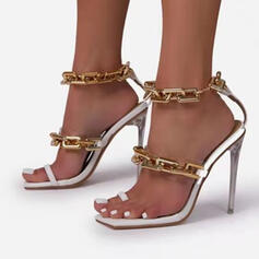 Women's PU Stiletto Heel Sandals Pumps Peep Toe Toe Ring Heels With Buckle Chain shoes