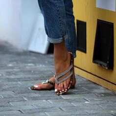 Women's Leatherette Flat Heel Sandals Flip-Flops Slippers With Rhinestone shoes