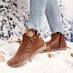 Kvinnor PU Flat Heel Boots rund tå med Bandage skor
