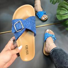 Women's PVC Flat Heel Flats Peep Toe Slippers With Rhinestone Buckle Crisscross shoes