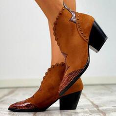 Kvinnor PU Tjockt Häl Stövlar Boots med Nita Spänne skor