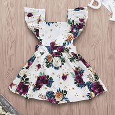 Baby Girl Ruffle Floral Print Cotton Dress