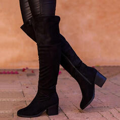 Women's Suede Chunky Heel Boots Over The Knee Boots Round Toe With Zipper Solid Color shoes