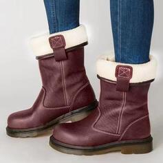 Kvinnor PU Tjockt Häl Stövlar med Andra Skarvfärg skor