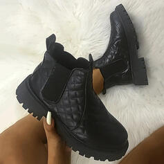 Women's PU Chunky Heel Platform Ankle Boots Low Top Round Toe With Elastic Band Solid Color shoes