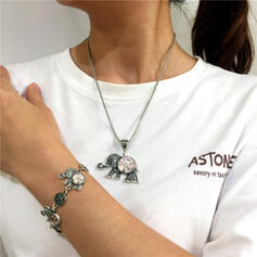 Bohemisk Elefant Legering Resin med Resin Elefant Smycken Sets Halsband Armband 2 st