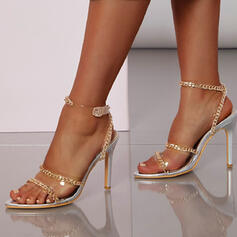 Women's PU Stiletto Heel Sandals Pumps Peep Toe With Chain Hollow-out shoes
