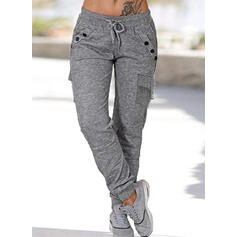 Pockets Shirred Plus Size Casual Sporty Plain Pants