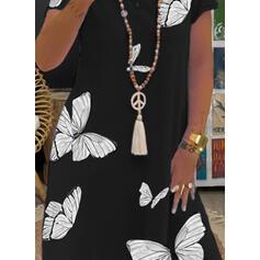 Animal Print Short Sleeves Shift Knee Length Casual T-shirt Dresses