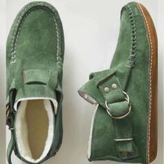 Kvinnor Mocka Flat Heel Boots Martin Stövlar rund tå med Nita Spänne Bandage skor