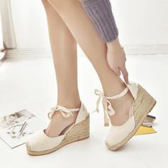 Kvinnor PU Kilklack Kilar med Bandage skor