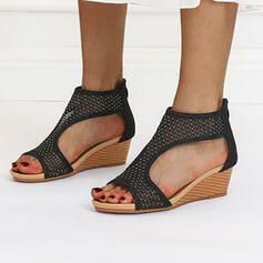 Women's Mesh Wedge Heel Sandals Wedges Peep Toe Heels Round Toe With Zipper Hollow-out shoes