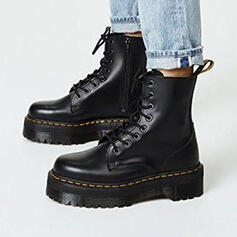Women's PU Flat Heel Ankle Boots Martin Boots With Lace-up Solid Color shoes