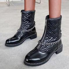 Kvinnor PU Låg Klack Halva Vaden Stövlar rund tå med Zipper Solid färg skor