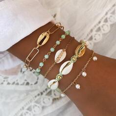 Snygg Attraktiv Legering med Oäkta Pearl Skal Smycken Sets Armband Strand smycken (Sada 5 párov)