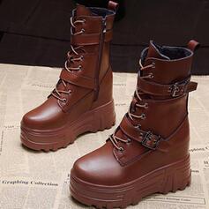 Kvinnor PU Flat Heel Halva Vaden Stövlar rund tå med Spänne Bandage Solid färg skor
