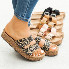 Women's PU Flat Heel Sandals Peep Toe Slippers With Buckle Animal Print shoes