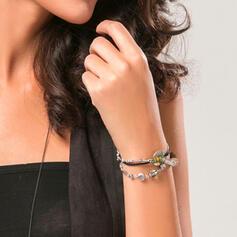 tappning utformar Enkel Skiktad Legering med Pärlor Armband 3 st