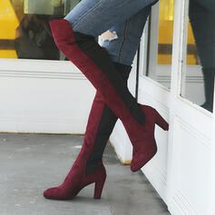 Kvinnor PU Tjockt Häl Over The Knee Boots med Zipper skor