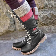 Kvinnor PU Låg Klack Knäkickkängor Snökängor Ridstövlar rund tå med Bandage Skarvfärg skor