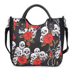 Blommor/Halloween/Skallen/Skräckinjagande Tygväskor/Crossbody Väskor