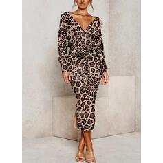 Leopard Långa ärmar Åtsittande Penna Fritids Midi Klänningar