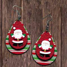 Layered Drop Shape Christmas Christmas Santa PU Women's Earrings 2 PCS