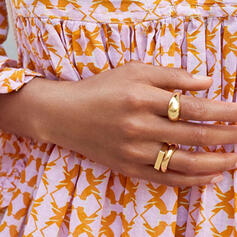 Classic Simple Gold Plated Copper Women's Rings