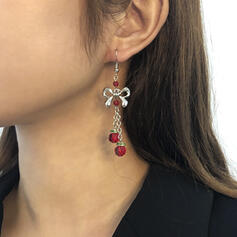 Bowknot Christmas Alloy Resin Earrings 2 PCS
